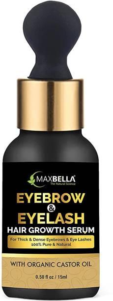 MaxBella Eyebrow & Eyelash Growth Serum with Castor, Onion Oil and Vitamin E | Grow Stronger, Fuller, Thicker, Regrowth | Eyebrow & Eyelash Enhancing Oil | 15ml Pack 15 ml