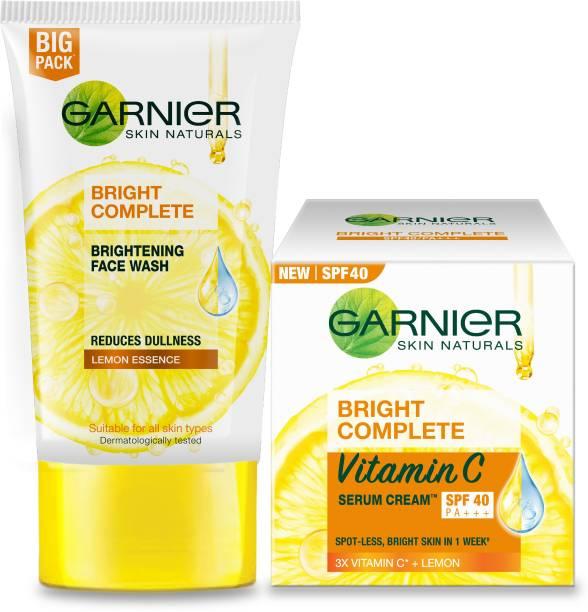 GARNIER Bright Complete VITAMIN C Facewash, 150g + Bright Complete VITAMIN C SPF40/PA+++ Serum Cream, 45g (Pack of 2) Face Wash
