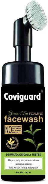 Coviguard Green Tea Foaming with Built-In Face Brush - With Green Tea & Aloe Vera Extract - For Purifying Skin, Improving Radiance - No Parabens, Sulphate, Silicones & Color - 150 ml  (150 ml) Face Wash
