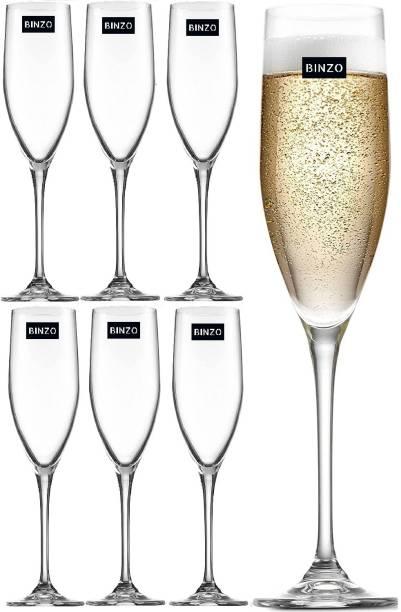 BINZO (Pack of 6) Classic Champagne Flute, Sparkling Wine Glass Glass Set
