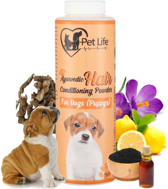 Pet Life Ayurvedic Hair Conditioning Powder For Dog (Puppy) Effective To Detangles Hair, Skin Healing/Cleaning, Restores Hair Quality - Safe & Effective Pet Friendly Formula For All Puppy Breeds 100 ml Pet Coat Cleanser