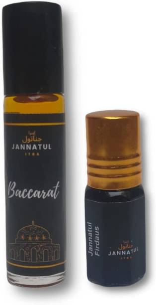 Jannatul itra Baccarat   Jannatul Firdaus   Perfume/Fragrance Oil Roll-on Attar   Premium Long Lasting Concentrated Attar for Men & Women   Unisex   Baccarat 10 ml   Jannatul Firdaus 4 ml Herbal Attar