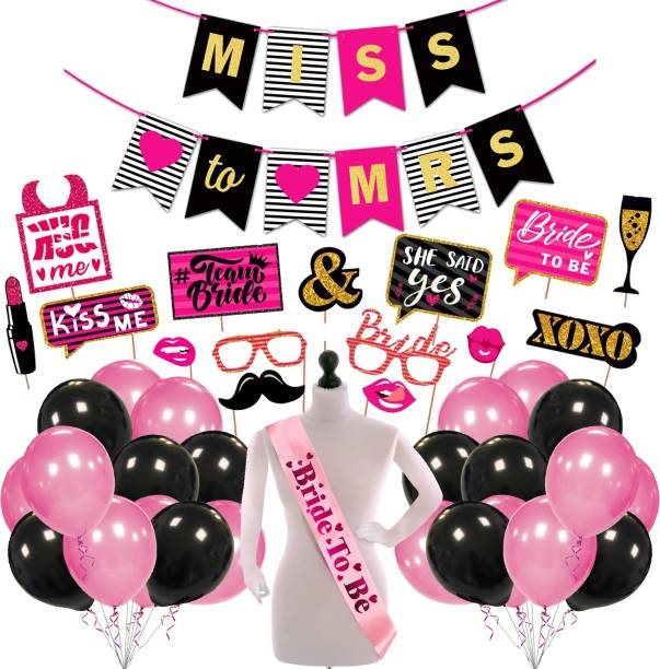 ZYOZI Bachelorette Party Decorations - Bridal Shower Decor & Bachelorette Decorations Kit Supplies - Bride to Be Sash, Banner, Photo Booth and Balloon (Pack of 42)