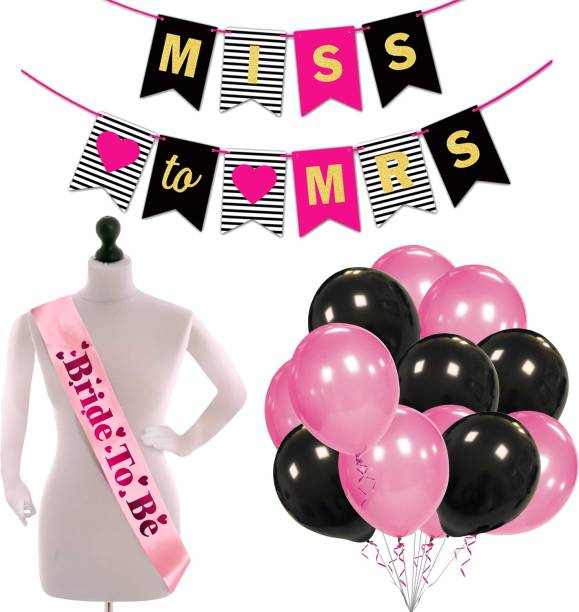 ZYOZI Bridal Shower & Bachelorette Party Set -Miss to Mrs Banner with Bride to Be Sash and Metallic Balloons (Pack of 27)