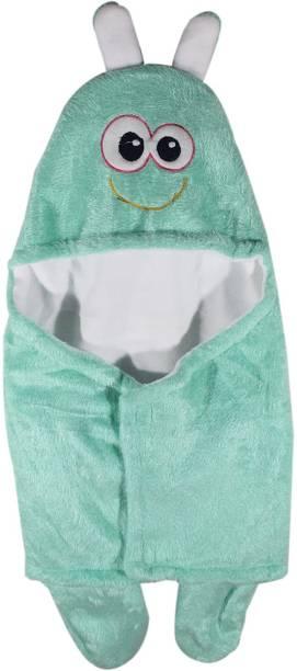 POPCABIT Cartoon Crib Hooded Baby Blanket