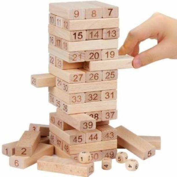 Qexle Jenga (Tumbling Tower) 54 pieces Numbered Wooden Blocks with 4 Dices, Stacking Game (Beige)