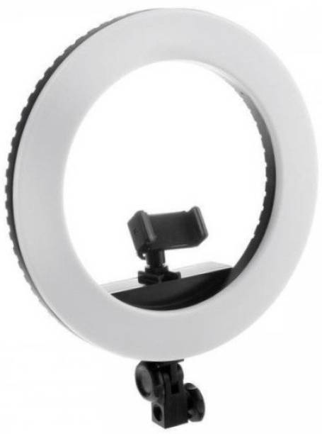Alchiko New HQ-14 Inch Portable LED Ring Light with 3 Color Modes Dimmable Lighting for Photo-Shoot Video Shoot Live Stream Makeup & Blogging Compatible with Phones & Cameras 17 lx Camera LED Light