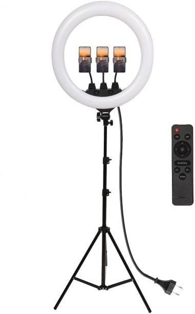 Alchiko New Professional ZB-F348 18 Inch Ring Light With 2.1 Tripod Portable Smartphone to Capture Your Photo and Video with Long 2.1 Stand for Live Streaming, LED Makeup, Video Conference 6000 lx Camera LED Light