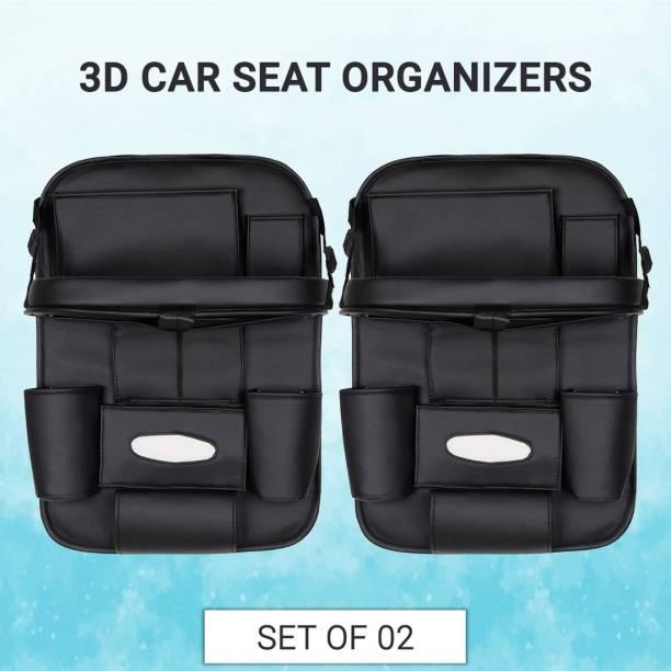 UrbanLifestylers 3D Car Auto Seat Back Multi Pocket Storage Bag Organizer with Car Meal Tray (Set of 2) Car Multi Pocket
