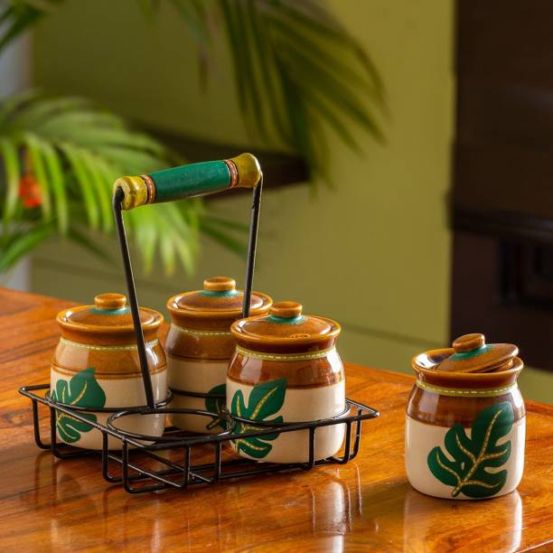 ExclusiveLane Handpainted Pickle & Chutney Jar Set with Tray 4 Piece Spice Set
