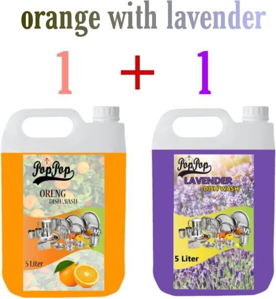 POPPOP 5 litre orange dishwash liquid gel and 5 Litre lavender dishwash liquid (Combo) with fragrench Dish Cleaning Gel