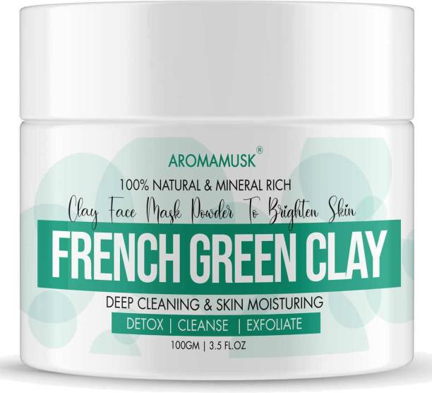 aromamusk Pure and Natural French Green Clay | 100% Pure Montmorillonite Clay For Face & Body | Sourced From France - For Skin softening and Deep facial cleanser