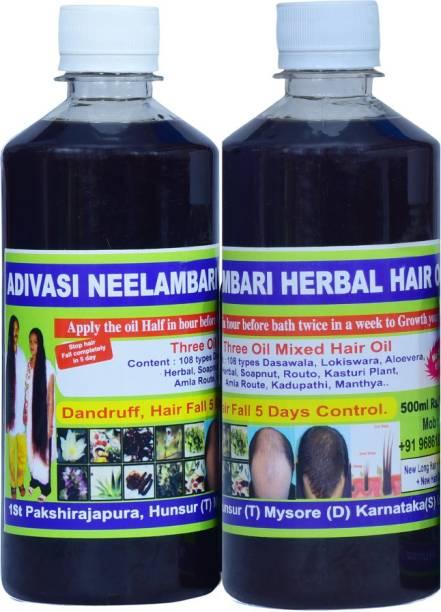 Adivasi Neelambari Medicine All Type of Hair Problem Herbal Natural Anti Dandruff Hair Oil 480 ML Hair Oil