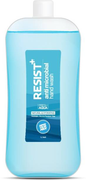 RESIST+ Antimicrobial Hand Wash (Fresh Aqua), Eliminates Germs, Refill Pack 1L Hand Wash Refill Pouch