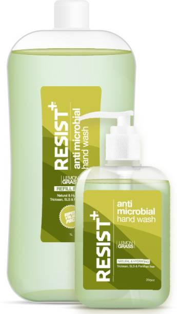 RESIST+ Antimicrobial Hand Wash with Pump Dispenser & Refill Pack 250ml+ 1L Hand Wash Pump + Refill
