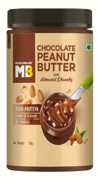MuscleBlaze Peanut Butter with Almond Chunks, 19% Protein 750 g