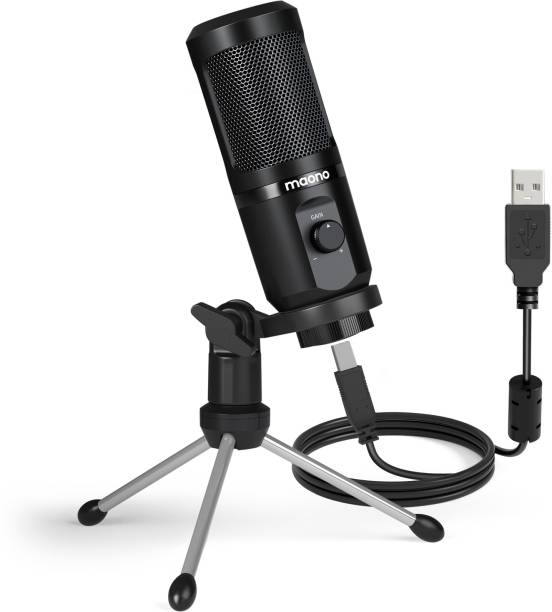 MAONO AU-PM461TR USB Condenser Mic for PC and Singing, Recording Microphone with Mic Gain for Gaming, Podcast, Studio, Vlogging Microphone