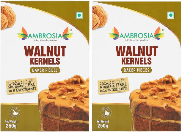 AMBROSIA Walnuts Baker Pieces 250gm | Light Brown Quarters & Brokens (4-8 pieces) | Best for Baking Walnuts