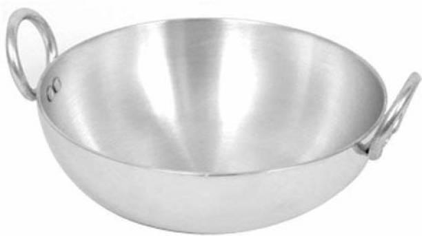 Hand Care Aluminium Kadhai Aluminium Kadai with Handle for Kitchen | Aluminium Vessels for Cooking Deep Frying Kadai /Pan for Kitchen Pack of 1 Kadhai 25 cm diameter 2.5 L capacity