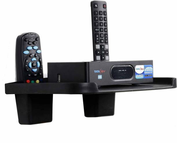 DALUCI Set Top Box Stand/DTH Stand/WIFI Router Stand/Set Top Box Wall Mount Stand With 2 Remote Holder Plastic Wall Shelf