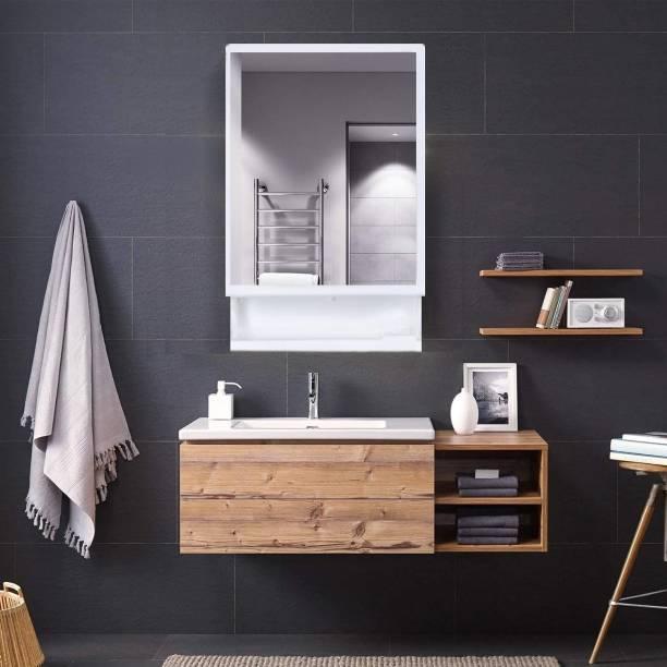 HOMACE Multipurpose Kitchen Bathroom Shelf Wall Holder Storage Rack Bathroom Cabinet (Color - White) Plastic Wall Shelf