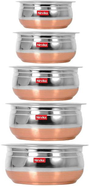 Nirvika stainless steel Handi Set Urli Everyday Use Whether you want to cook a delicious serving of your favourite sabzi or heat leftover curries from the previous day, the 5-piece copper handi set, Prabhu Chetty, Curved Copper Plate at Bottom, Best Quality Stainless Steel Copper Bottom 5 Pic Handi Pot Set, Brown & Steel, 5 Pic Handi Copper Vegetable Bowl ,Cooking Dinner Table Serving Biryani Pot Handi Kadhai , Panikarilikka Steel Handi 5 Pices Sets Handi 400 ML, 650 ML, 850 ML,1200 ML,1600 ML Dish Serving Set
