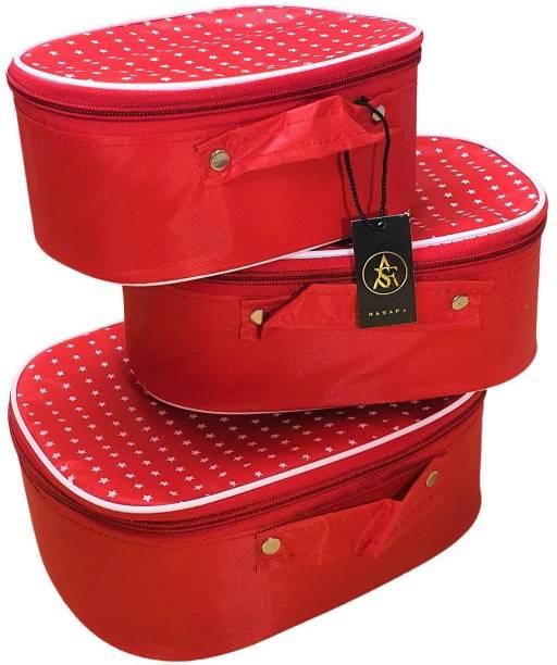 Rasafa Set of 3 Star pattern Makeup box, Jewellery box, Makeup Kit, Storage case Vanity Box