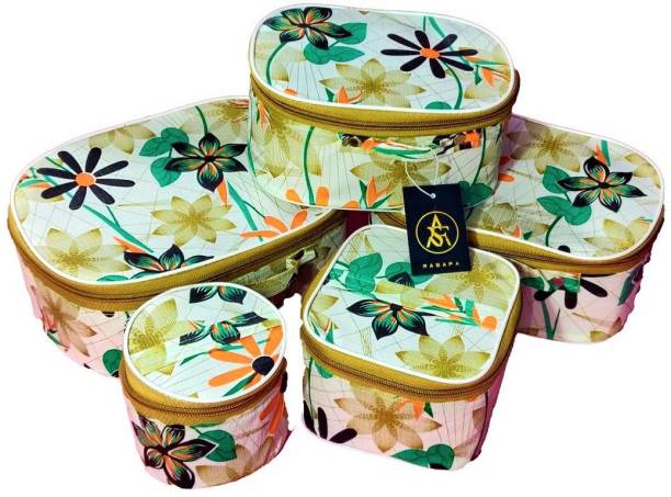 Rasafa Pack of 5 Fashionable High quality Storage Case, Bangle Box, Spacious Interior, Cosmetic Box Vanity Box