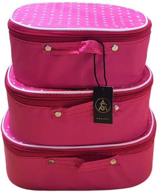 Rasafa Set of 3 Multi-purpose supreme quality Makeup box Storage cases, Cosmetics box, Vanity box, Spacious interior Vanity Box