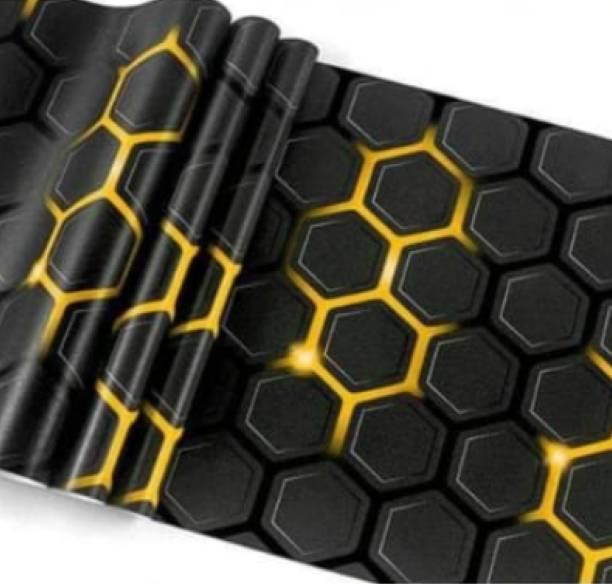 WallBerry Large Self Adhesive Wallpaper Sticker(Black/Yellow)