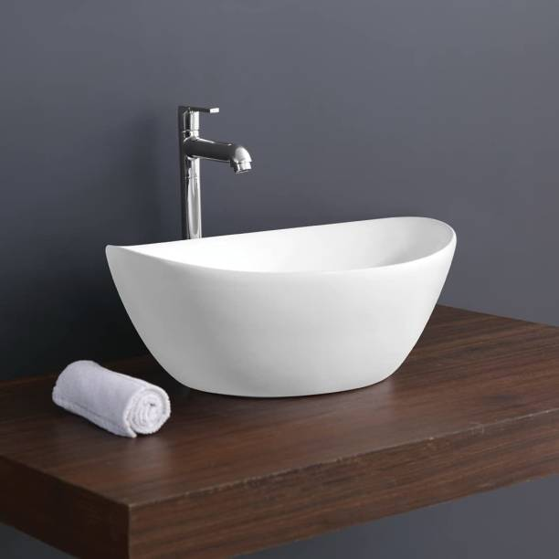 Sanito Ceramic White Table Top Wash Basin | (16.3 x 13.8 x 6.5 Inch) | Ship | Table Top Basin