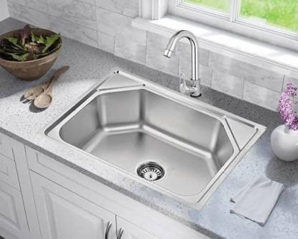 Torofy (24x18x10 inch) Fully Matte Finish Stainless Steel Machine Made Kitchen Vessel Sink (Silver) Under Counter Basin