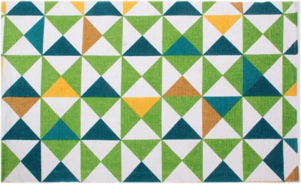 Saral Home Green Cotton Dhurrie