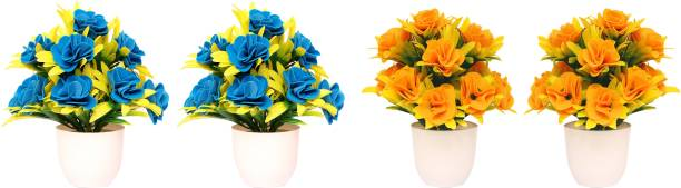NERAPI Sky Blue & Yellow Shining Roses Flower Set Multicolor Rose Artificial Flower  with Pot