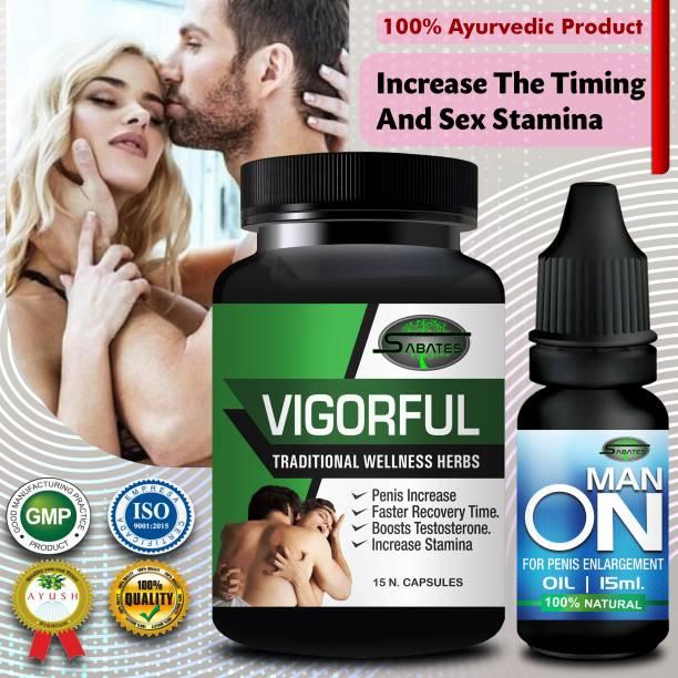 Sabates Vigor Ful Sexual Capsules & Man On Oil For Ling Lamba Mota Karne Ki Dawa/ Ling Khada Karne Ki Dawai 100% Pure