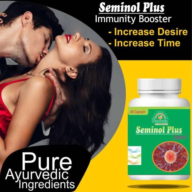 sankalp therapeutics Seminol Plus for Turbo Boost Sexual Capsules Sex Time Badhane Ki Dawa/ Sexual Power Booster Tablets 100% Ayurvedic ( 60 Capsules)