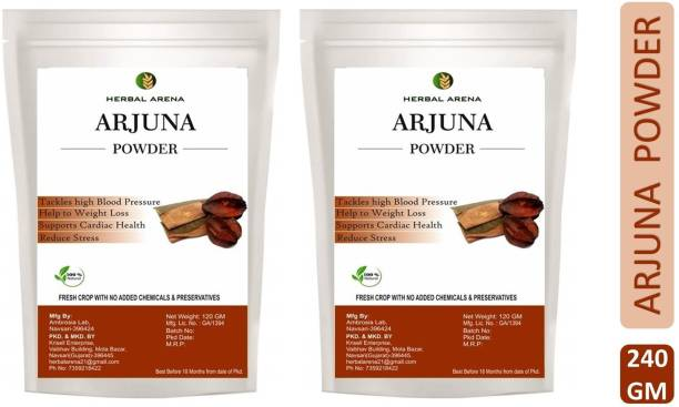 Herbal Arena Arjuna | Arjun Chaal Powder (Arjun Bark) -TERMINALIA ARJUNA Bark Powder
