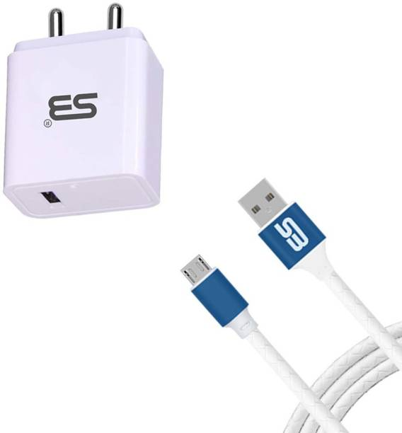 shopbucket 18W Single USB Port Mobile Fast Charger BIS Certified, Auto-detect Technology, (White) 3.0A with Micro USB 2.4A Charging Cable (Blue) Length 1.2 Meter Long Cable Travel Fast Charging Power Adapter Compatible With Samsung Galaxy M01, Samsung Galaxy A10, Samsung Guru Music 2, Samsung Galaxy A10s, Samsung Galaxy M01s. 18 W 3 A Mobile Charger with Detachable Cable