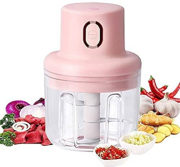 foxly Portable USB Rechargeable Electric Fruit Vegetable Onion Garlic Chopper Electric For Kitchen Use, Mini Slicer (250 ml) Electric Chopper