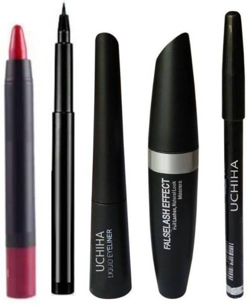 Uchiha Eyebrow Pencil, Black Eyeliner, Mascara , Kajal (4in1)+ Lipstick