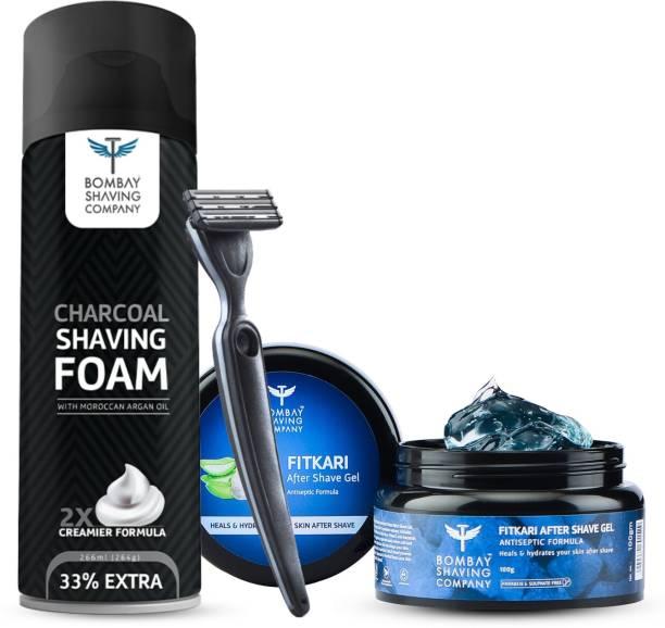 BOMBAY SHAVING COMPANY Premium Shaving Combo Kit for Men with Dexter Razor, Charcoal Shaving Foam 264g & After Shave Fitkari Gel 100g
