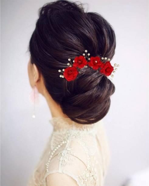 krelin Party Bridal Fancy Hair Clip Headband Hair Accessories Tiara Accessories for Women Pins Artificial White Stone Flowers Accessories (veni_03) Hair Accessory Set