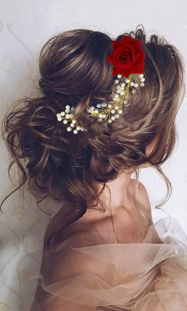 krelin Women's Girl's Hair Clips Pins Long Short Hair Buns HairStyles Artificial Flowers Accessories For Weddings BrideAcc09) Bun
