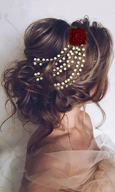 krelin Party Bridal Fancy Hair Clip Headband Hair Accessories Tiara Accessories for Women Pins Artificial White Stone Flowers Accessories (veni_01) Hair Chain