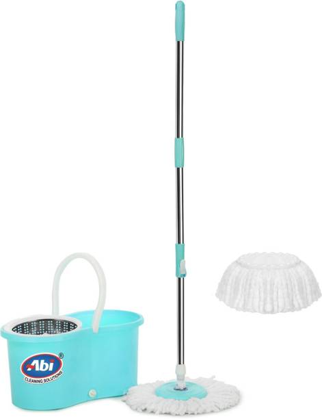 """TWONE 360 degree Spin Mop Bucket with Wheels Water Outlet With 2 Microfiber Refills   Steel Spinner   Aqua   50"""" Length Handle Mop"""