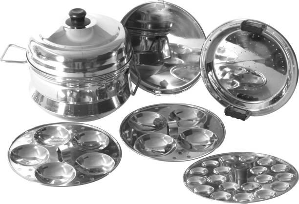 Flipkart SmartBuy Stainless Steel pannai idli Maker with 5 plates (9 idlis /15 mini idlis /1 Steamer plate/1 dhokla plate) Induction & Standard Idli Maker