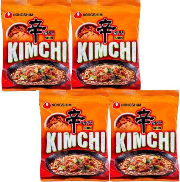 Nongshim Kimchi Ramyun Korean Style Instant Noodles 120gm*4 (Pack Of 4) Instant Noodles Vegetarian
