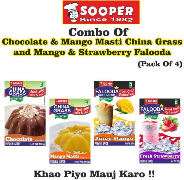 SOOPER CHOCOLATE & MANGO CHINA GRASS + MANGO & STRAWBERRY FALODA COMBO 400 g