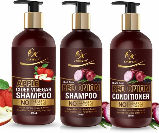 OXWOR Apple Cider VInegar Shampoo 300 ML , Red Onion Back Seed OIl Shampoo 300ML , Onion Conditioner 300 ML