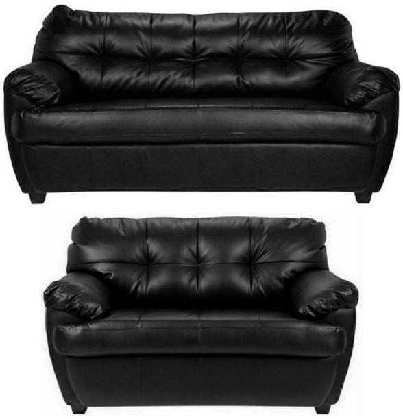 BHARATH ENTERPRISES Leatherette 3 + 2 BLACK Sofa Set